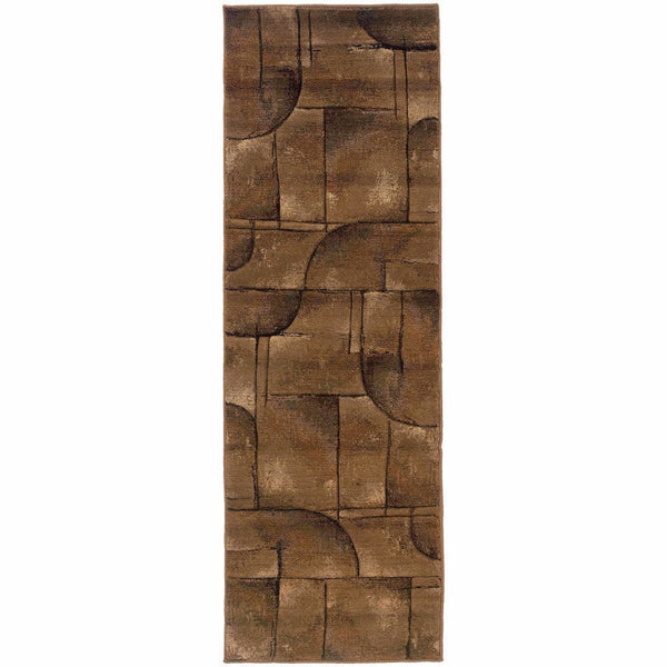 Woven - Genesis Beige Green Abstract Geometric Transitional Rug