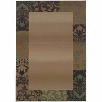 Genesis Beige Green Border  Transitional Rug - Free Shipping