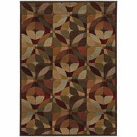 Genesis Beige Green Geometric  Transitional Rug - Free Shipping