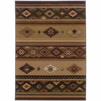 Genesis Beige Green Southwest/Lodge  Transitional Rug - Free Shipping