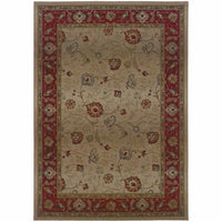 Genesis Beige Red Floral  Traditional Rug - Free Shipping
