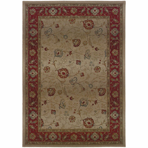 Genesis Beige Red Floral  Traditional Rug