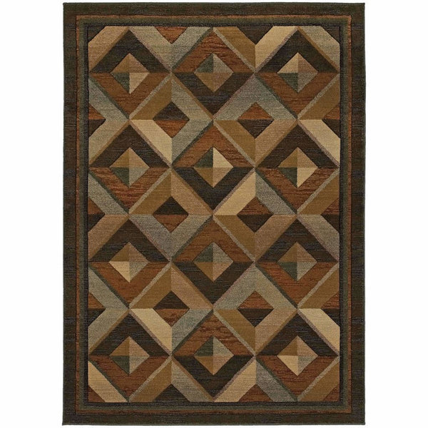 Genesis Brown Beige Geometric  Transitional Rug - Free Shipping