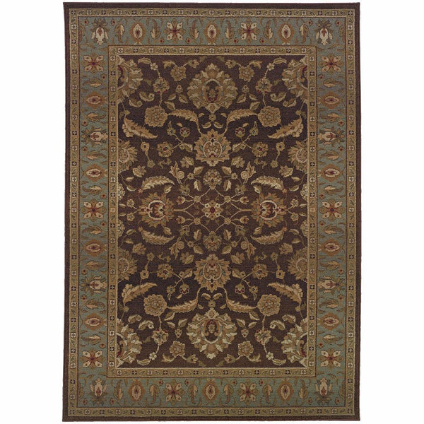 Genesis Brown Blue Oriental Persian Traditional Rug - Free Shipping