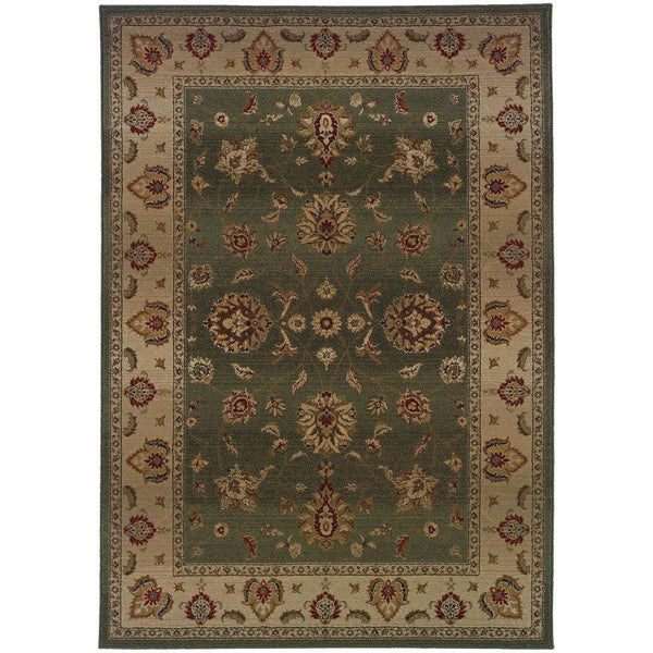 Genesis Green Beige Oriental Persian Traditional Rug