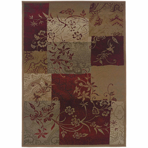 Oriental Weavers Genesis Red Beige Geometric Botanical Transitional Rug