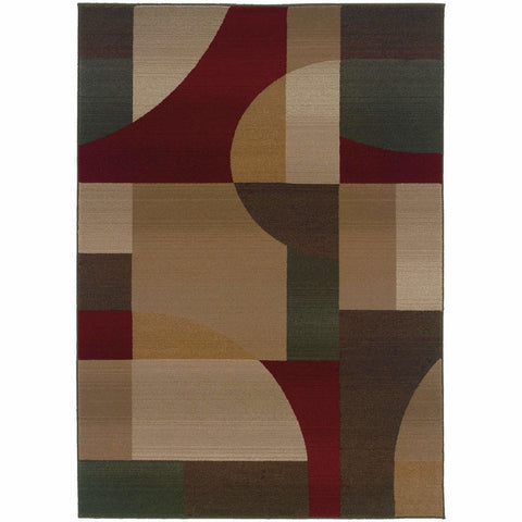 Oriental Weavers Genesis Tan Brown Abstract  Contemporary Rug