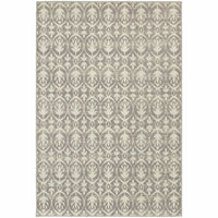 Hampton Grey Ivory Geometric Distressed Transitional Rug