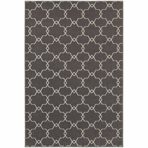 Oriental Weavers Hampton Grey Ivory Geometric Quatrefoil Transitional Rug