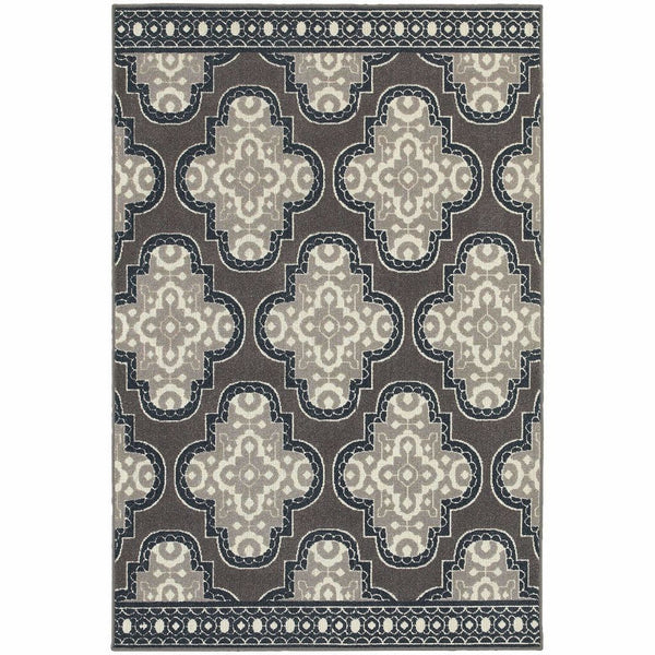 Woven - Hampton Grey Navy Geometric Quatrefoil Transitional Rug