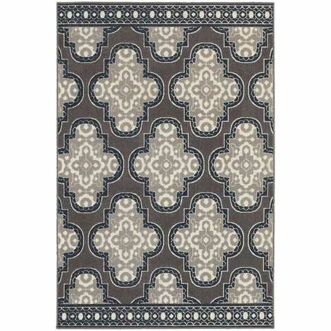 Oriental Weavers Hampton Grey Navy Geometric Quatrefoil Transitional Rug