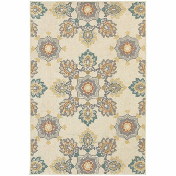Hampton Ivory Grey Floral  Transitional Rug