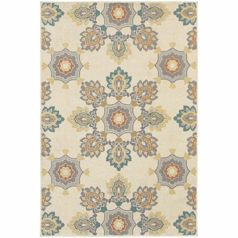 Oriental Weavers Hampton Ivory Grey Floral  Transitional Rug