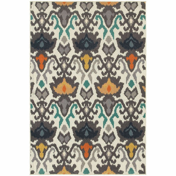 Hampton Ivory Multi Abstract Ikat Transitional Rug - Free Shipping