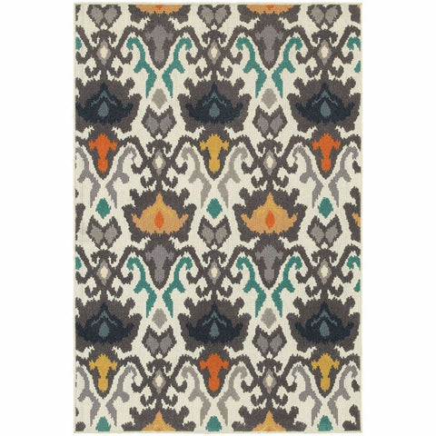 Oriental Weavers Hampton Ivory Multi Abstract Ikat Transitional Rug