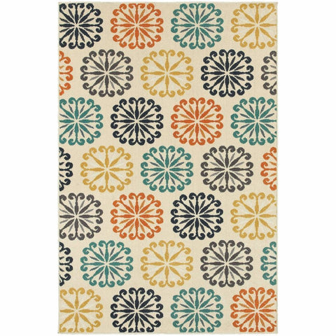 Hampton Ivory Multi Floral Circles Transitional Rug