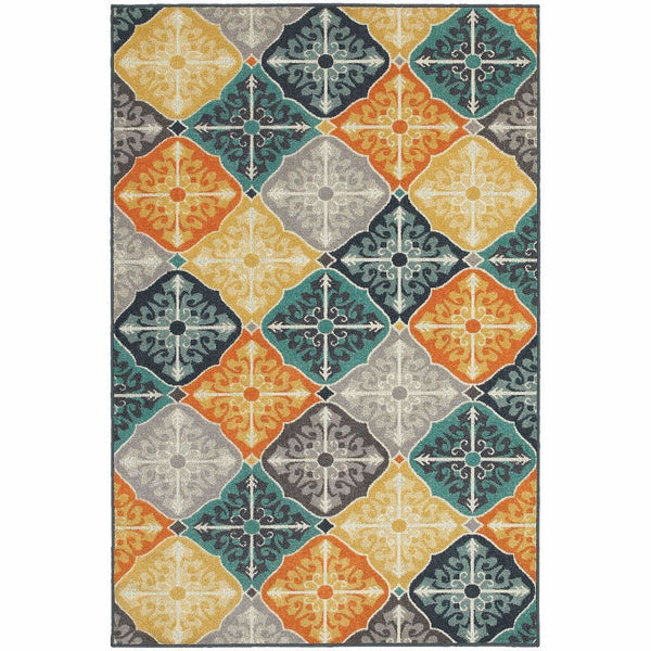 Hampton Multi Blue Geometric Quatrefoil Transitional Rug