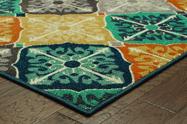 Woven - Hampton Multi Blue Geometric Quatrefoil Transitional Rug