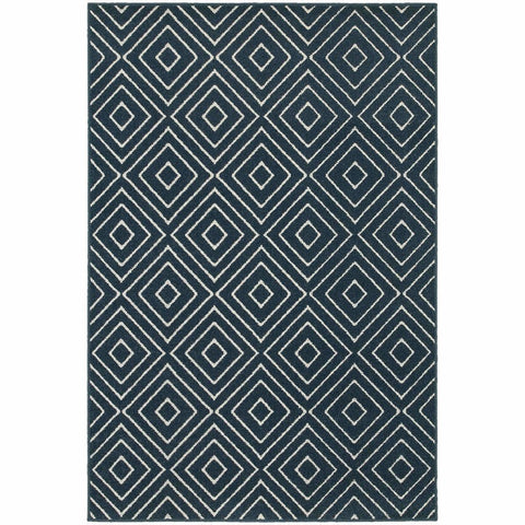 Oriental Weavers Hampton Navy Ivory Geometric Diamond Transitional Rug