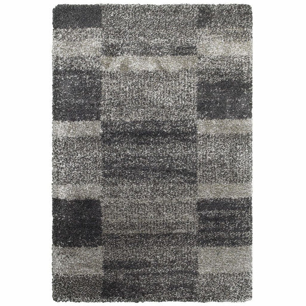 Henderson Grey Charcoal Geometric Shag Transitional Rug