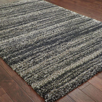 Woven - Henderson Grey Charcoal Geometric Stripe Transitional Rug