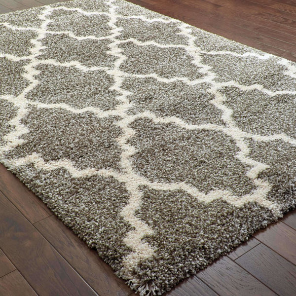Woven - Henderson Grey Ivory Geometric Lattice Transitional Rug