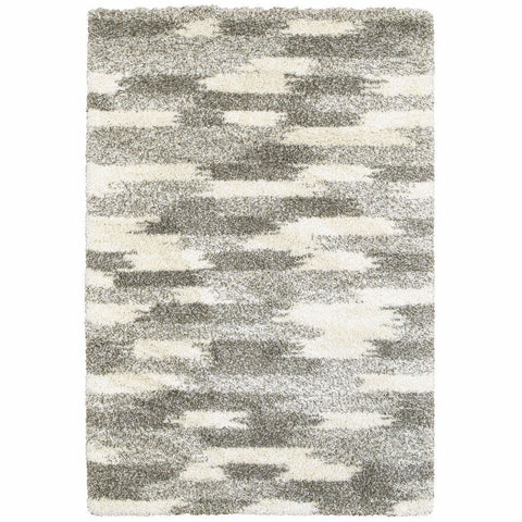 Henderson Grey Ivory Geometric Shag Transitional Rug
