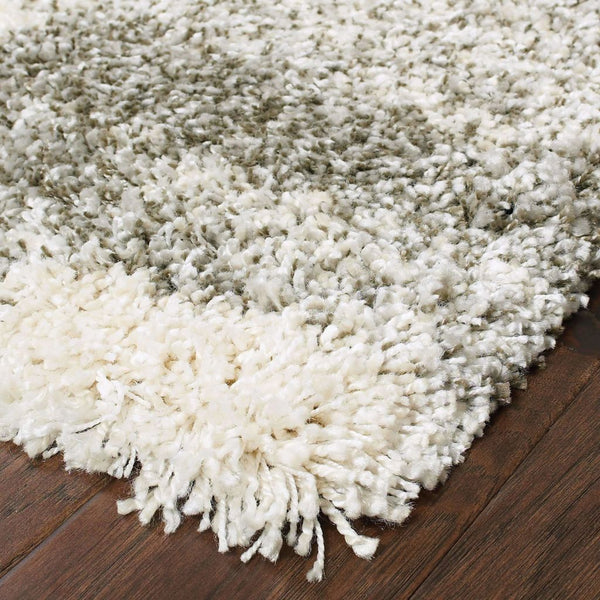 Woven - Henderson Grey Ivory Geometric Shag Transitional Rug