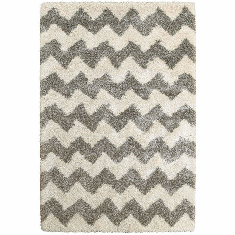 Henderson Grey Ivory Geometric Stripe Transitional Rug