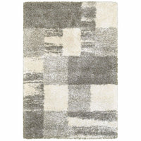 Henderson Ivory Grey Geometric Shag Transitional Rug
