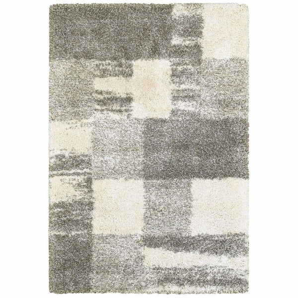 Henderson Ivory Grey Geometric Shag Transitional Rug - Free Shipping