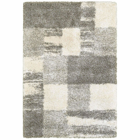 Oriental Weavers Henderson Ivory Grey Geometric Shag Transitional Rug