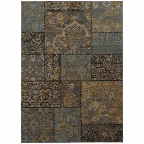 Oriental Weavers Heritage Charcoal Blue Geometric  Casual Rug