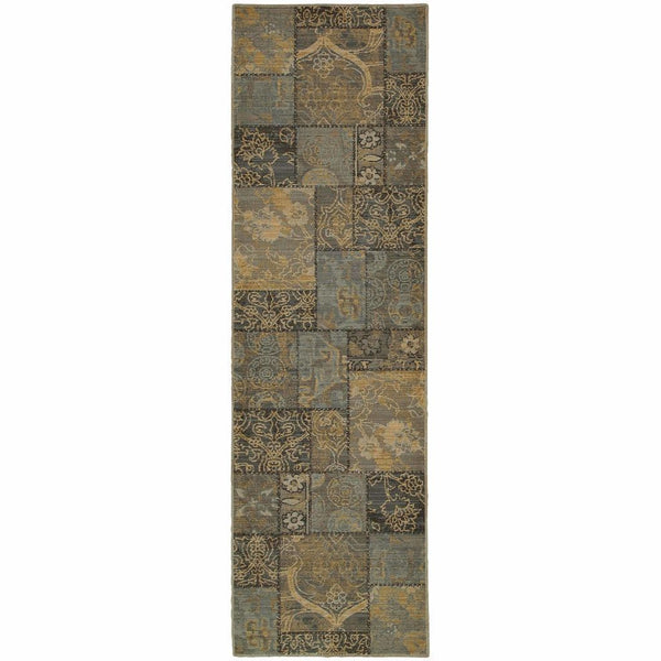 Woven - Heritage Charcoal Blue Geometric  Casual Rug