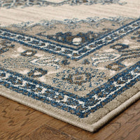 Woven - Highlands Beige Grey Medallion Oriental Traditional Rug
