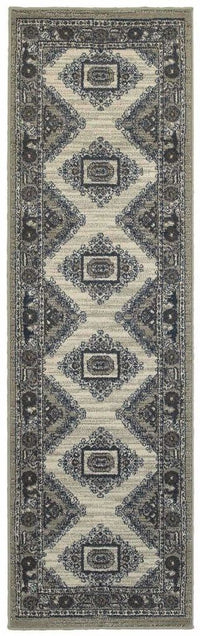 Highlands Beige Grey Medallion Oriental Traditional Rug