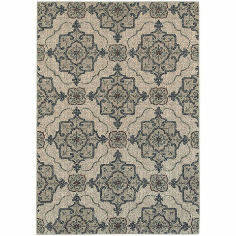 Oriental Weavers Highlands Beige Grey Medallion Panel Transitional Rug