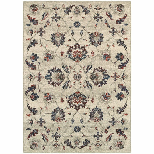 Highlands Beige Multi Floral Oriental Transitional Rug