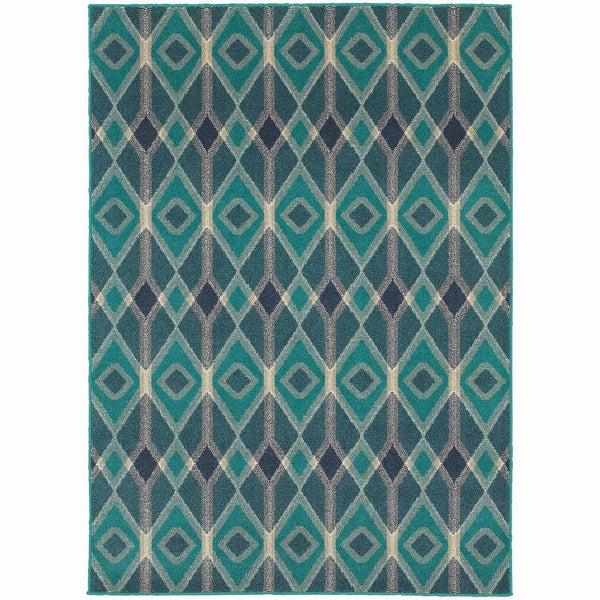 Highlands Blue Teal Geometric Diamonds Transitional Rug - Free Shipping