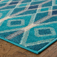Woven - Highlands Blue Teal Geometric Diamonds Transitional Rug