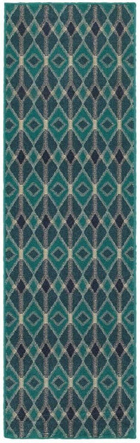 Oriental Weavers Highlands Blue Teal Geometric Diamonds Transitional Rug