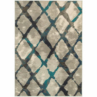 Highlands Grey Blue Lattice Abstract Contemporary Rug