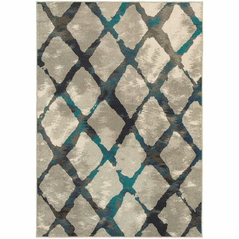 Oriental Weavers Highlands Grey Blue Lattice Abstract Contemporary Rug
