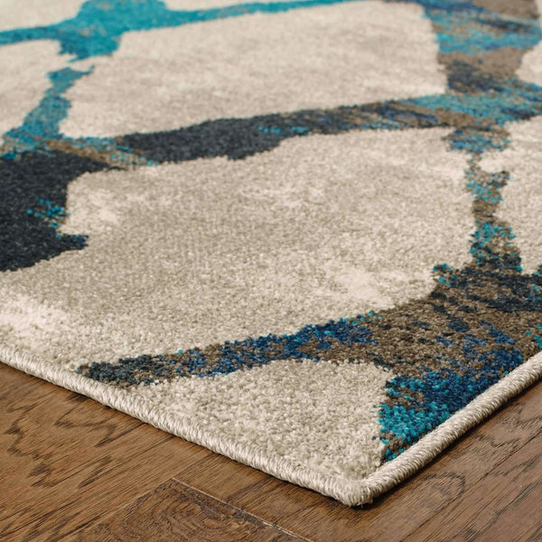 Woven - Highlands Grey Blue Lattice Abstract Contemporary Rug