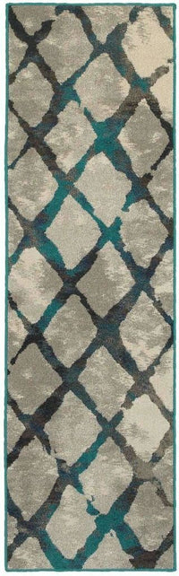 Highlands Grey Blue Lattice Abstract Contemporary Rug - Free Shipping