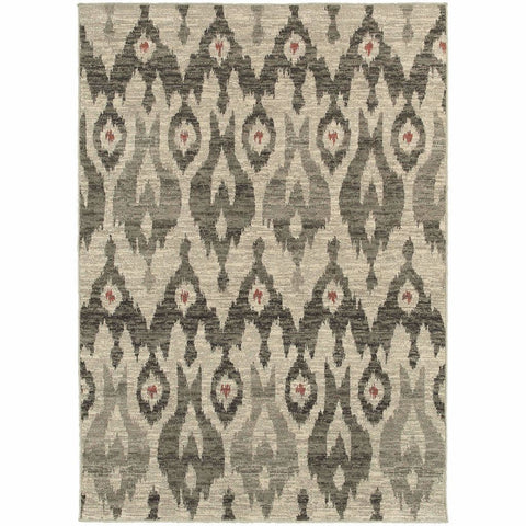 Oriental Weavers Highlands Ivory Grey Tribal Ikat Transitional Rug