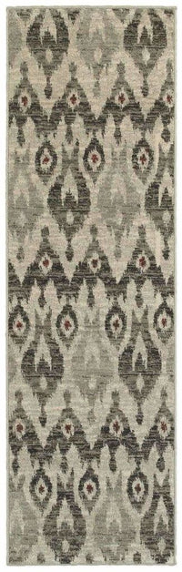 Highlands Ivory Grey Tribal Ikat Transitional Rug - Free Shipping