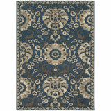 Woven - Highlands Midnight Beige Medallion Floral Transitional Rug