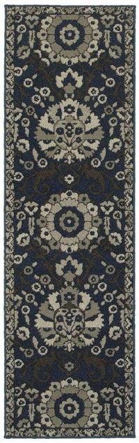 Highlands Midnight Beige Medallion Floral Transitional Rug - Free Shipping
