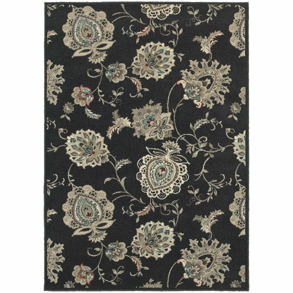 Highlands Midnight Ivory Floral  Transitional Rug - Free Shipping